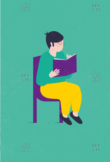 Illustration of a boy reading a book sitting on a chair