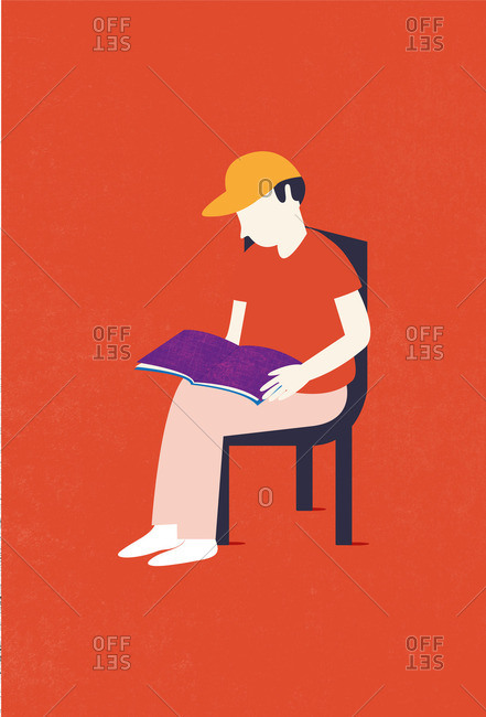 Illustration of a young man reading a book sitting on a chair