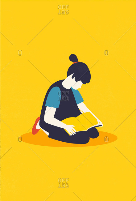 Illustration of a girl sitting on the floor reading a book