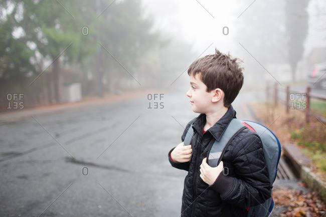 Boy waiting for school bus on a foggy morning