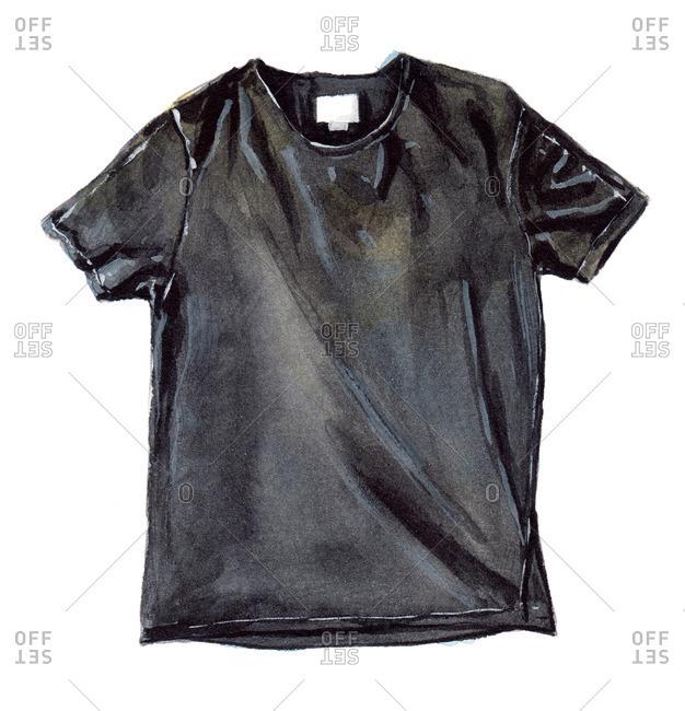 Plain black t-shirt with wrinkles