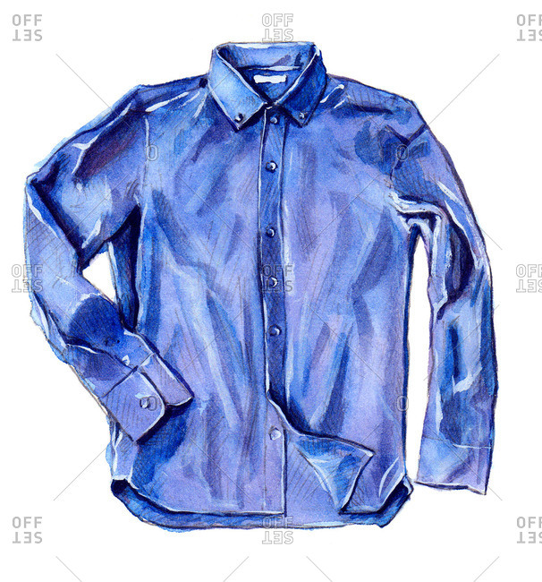 Collared blue button-up shirt with long sleeves
