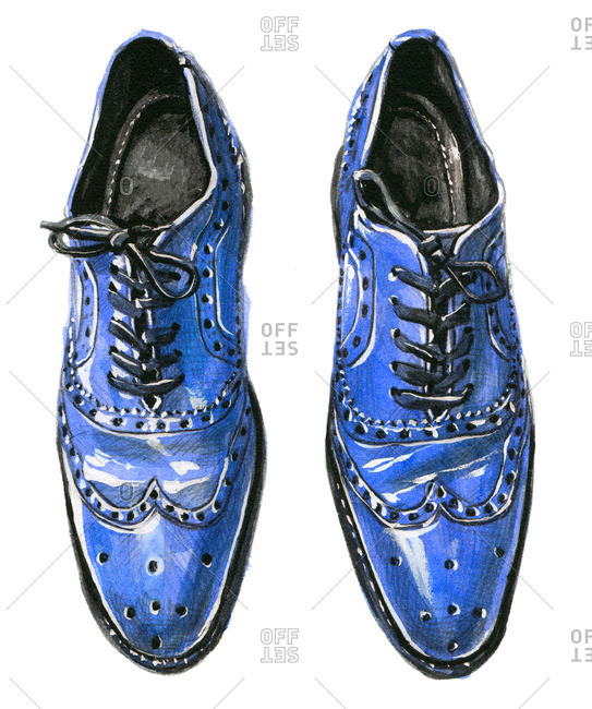 Blue wingtip Oxford shoes with tied laces