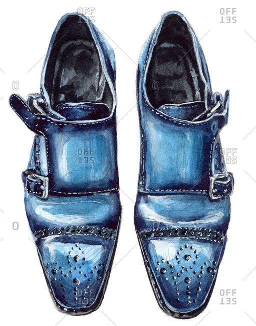 Blue double monk shoes with punched designs