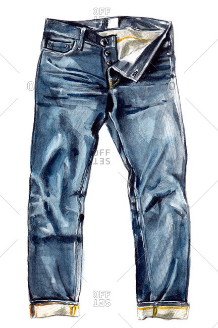 Denim jeans with rolled cuffs and multiple buttons