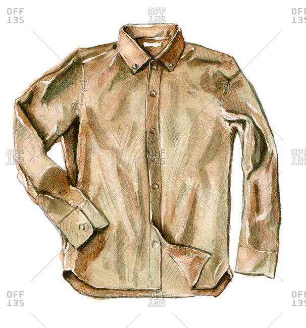 Brown button-up shirt with long sleeves