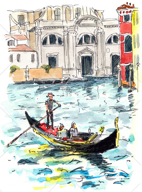 Gondolier rowing passengers on a canal