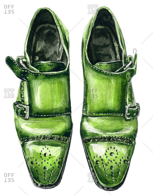 Green double monk shoes with punched designs