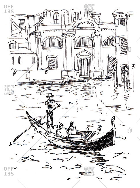 Sketch of a gondolier rowing passengers on a canal