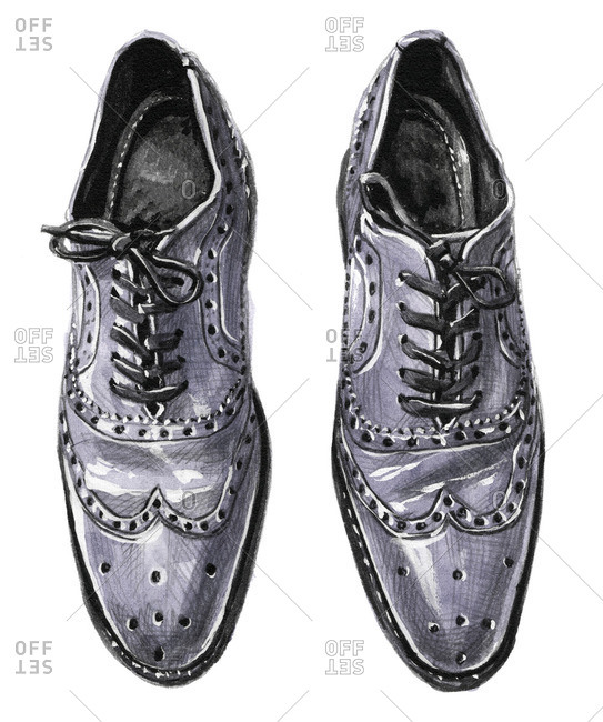 Grey wingtip Oxford shoes with tied laces