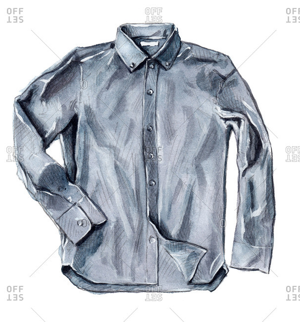 Collared grey button-up shirt with long sleeves