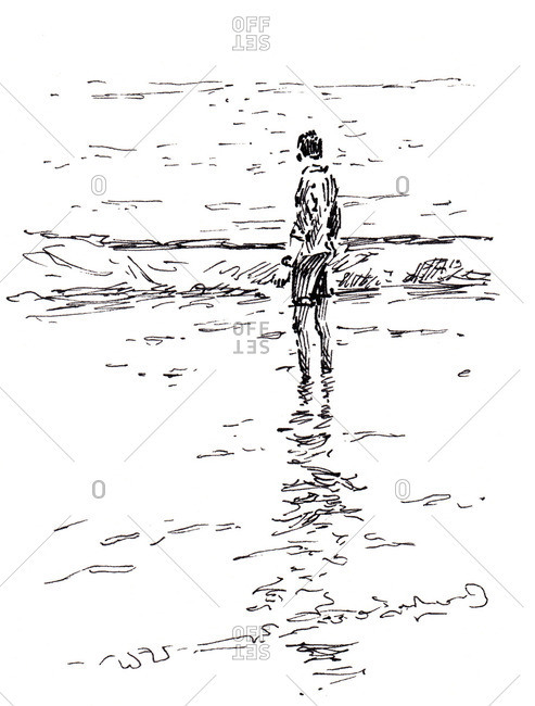 Sketch of a man standing in water on a seashore