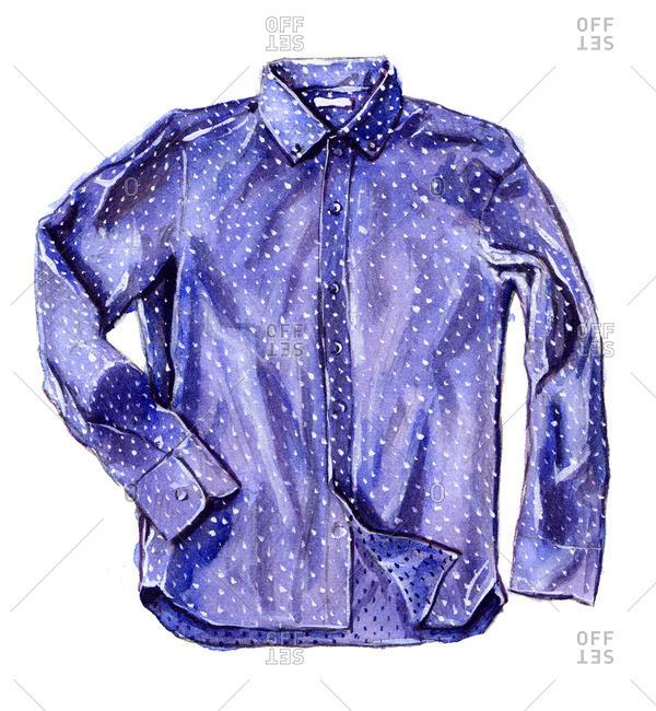 Blue polka dot button-up shirt