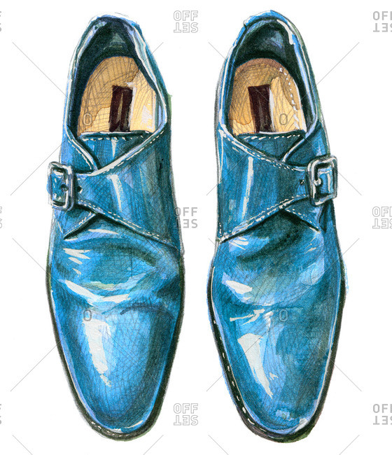 Light blue single monk strap shoes