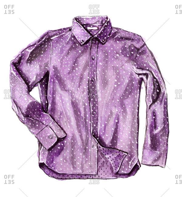 Purple polka dot button-up shirt