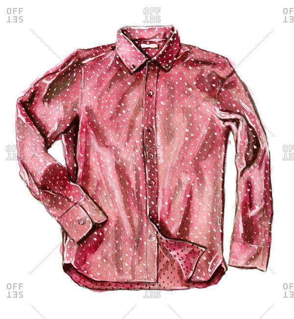 Red polka dot button-up shirt