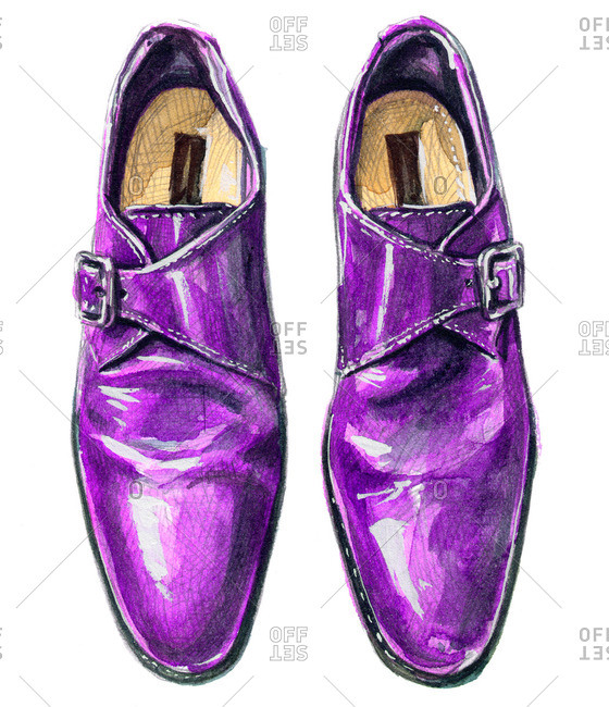 Purple single monk strap shoes