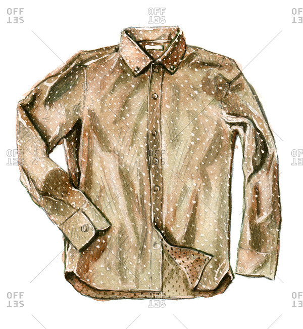 Tobacco brown polka dot button-up shirt