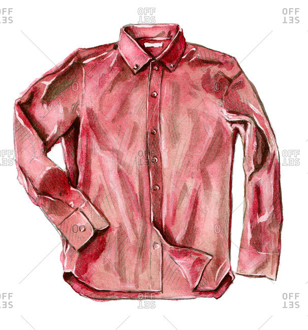 Collared red button-up shirt with long sleeves