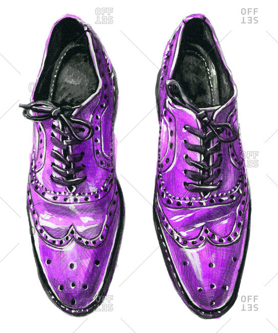 Purple wingtip Oxford shoes with tied laces