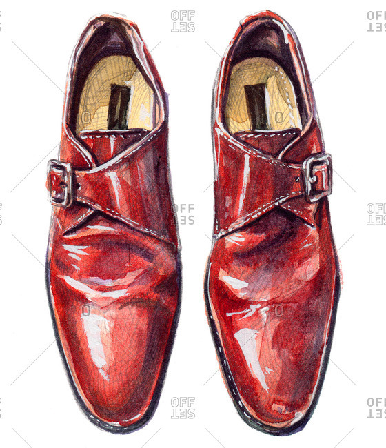 Red single monk strap shoes