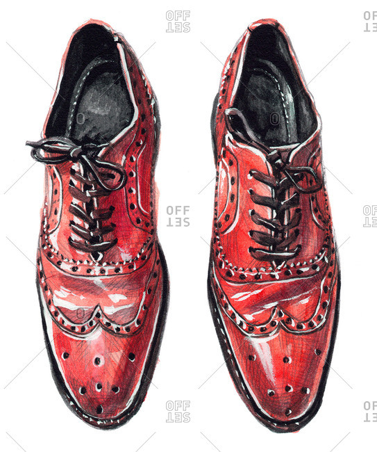 Red wingtip Oxford shoes with tied laces