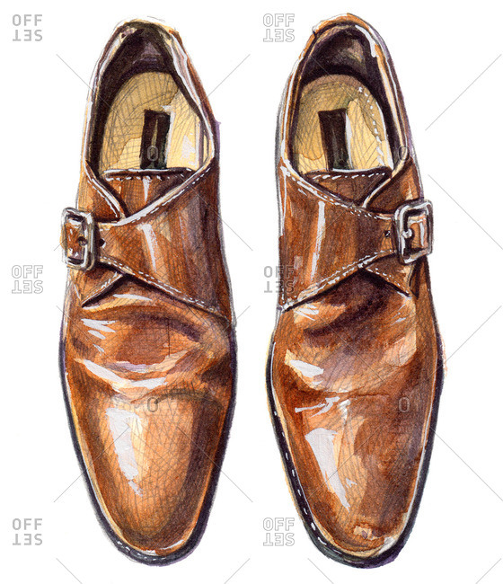 Tan single monk strap shoes