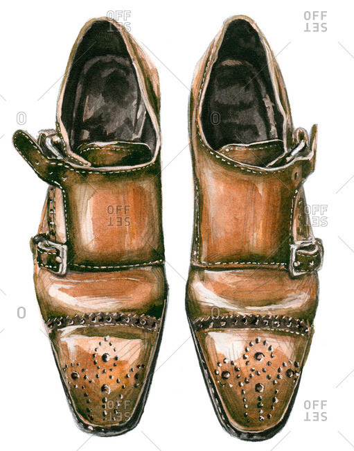 Tan double monk shoes with punched designs