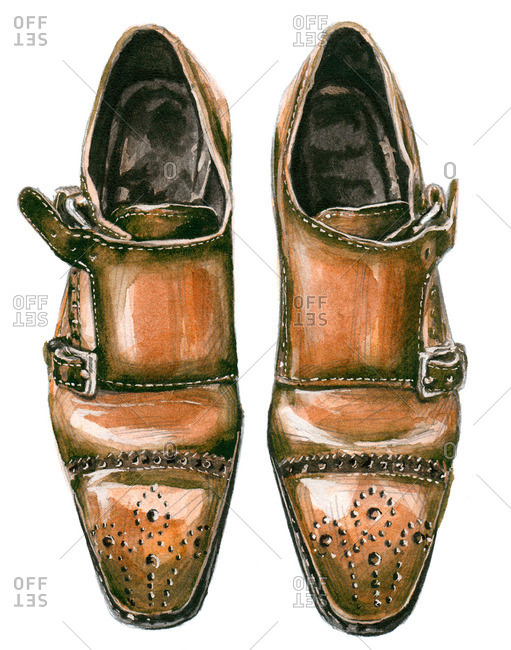 Tobacco brown double monk shoes with punched designs