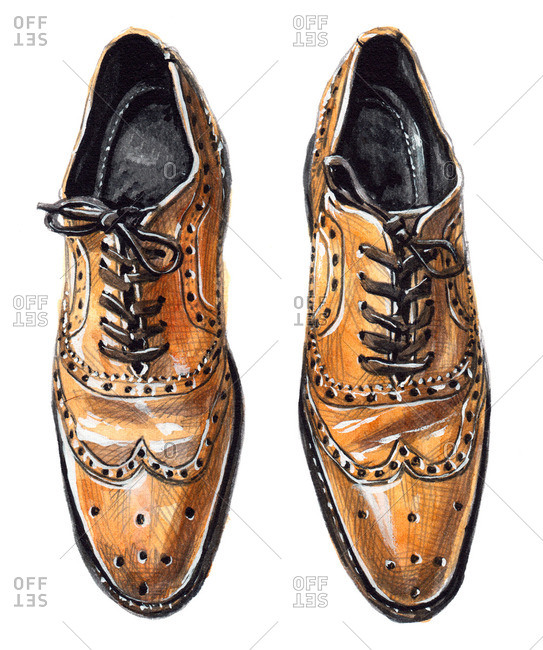 Tobacco brown wingtip Oxford shoes with tied laces