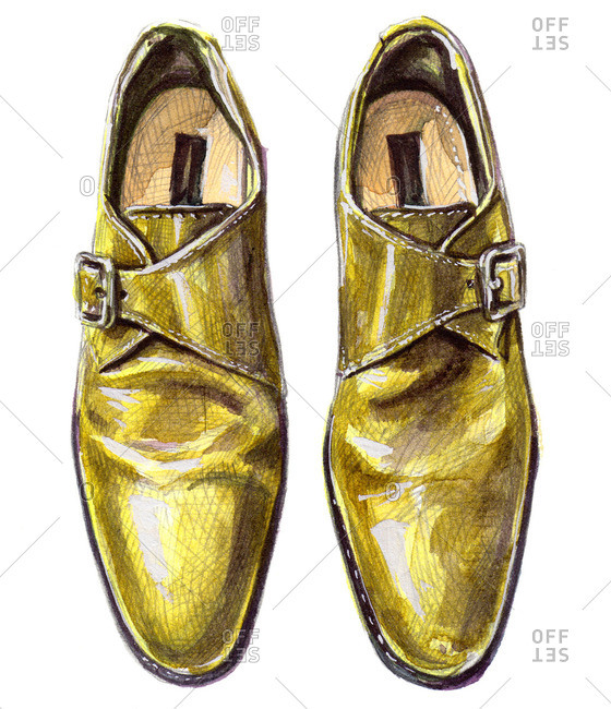 Yellow single monk strap shoes