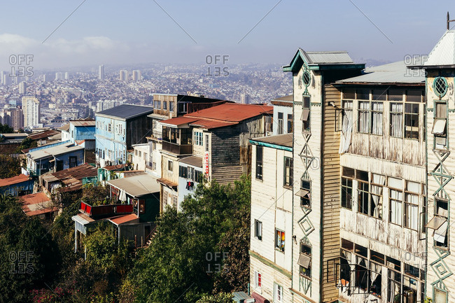 Valparaiso, Chile - May 15, 2015: Old residential buildings overlooking the urban center of Valpairaso