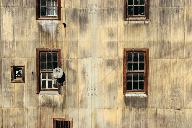 Valparaiso, Chile - May 15, 2015: Satellite dish in the window of an old building