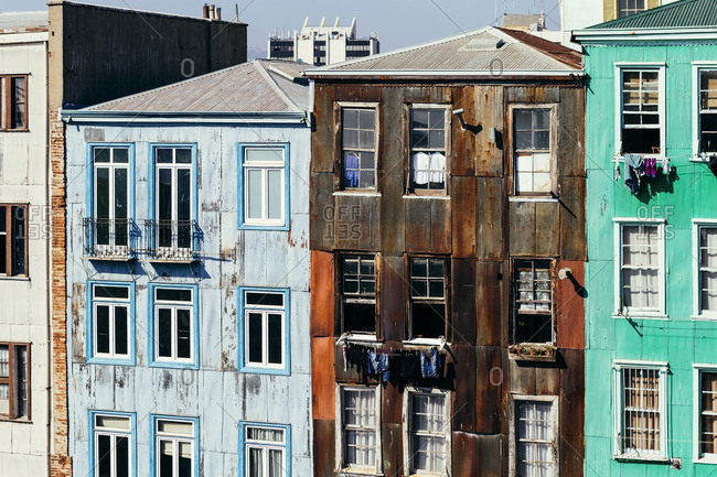 Old residential buildings with clothes lines