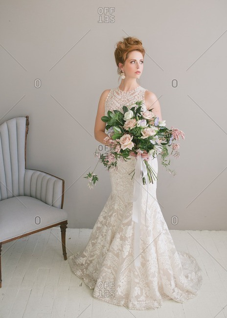 Bride in lace fishtail dress