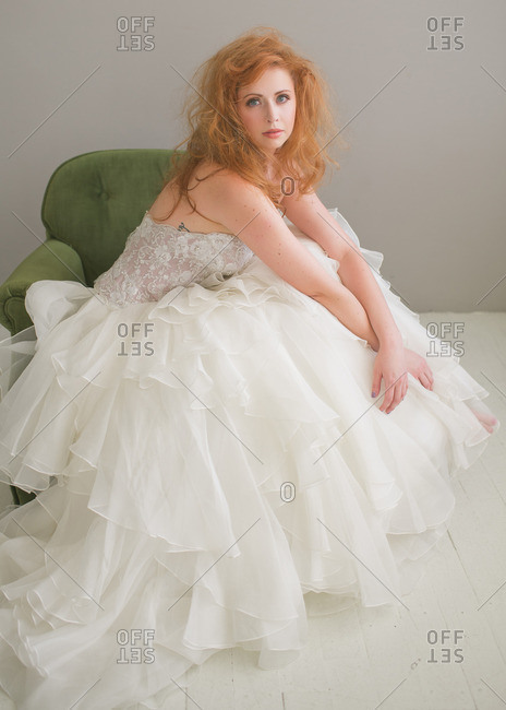 Bride with messy red hair