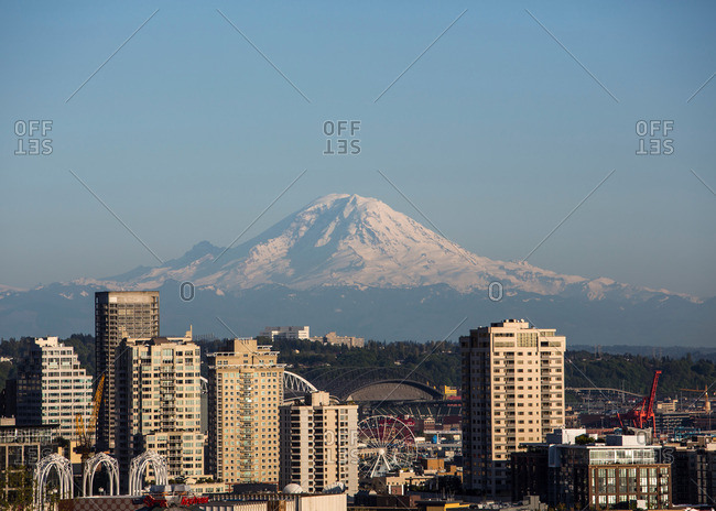 Seattle, Washington - May 3, 2013: Mount Rainier behind Seattle skyline
