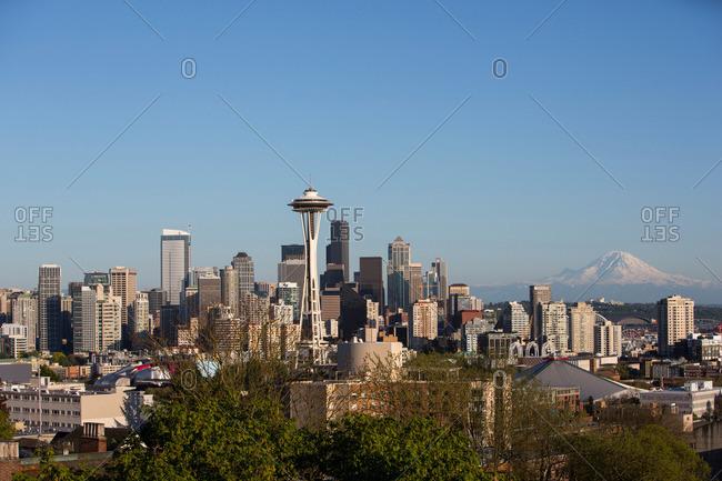Seattle, Washington - May 3, 2013: Seattle skyline and Mount Rainier