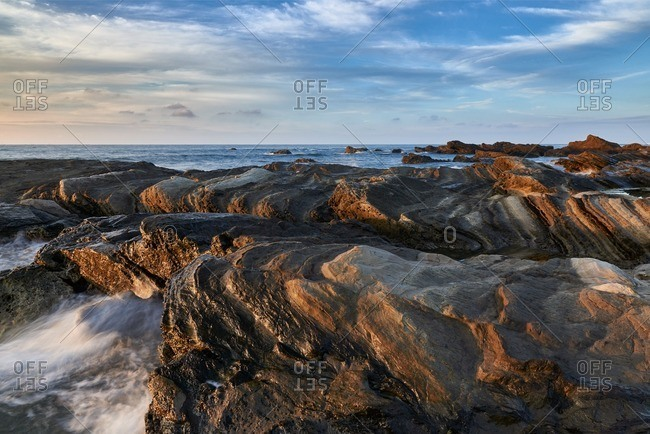 Wave eroded rocks on the coast in Minamiboso, Japan