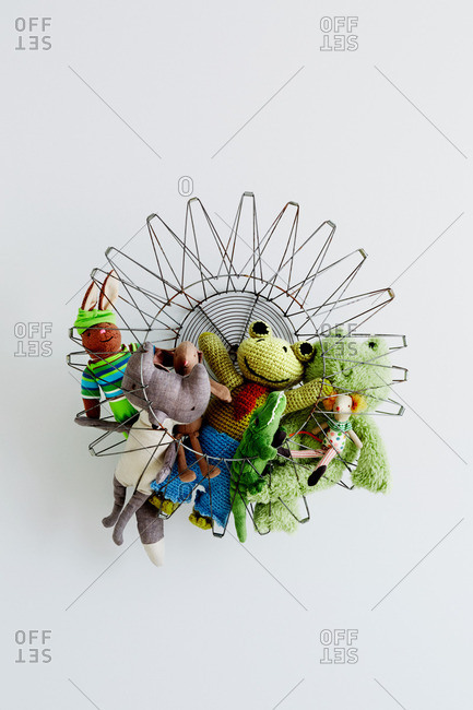 A collapsible basket and toys