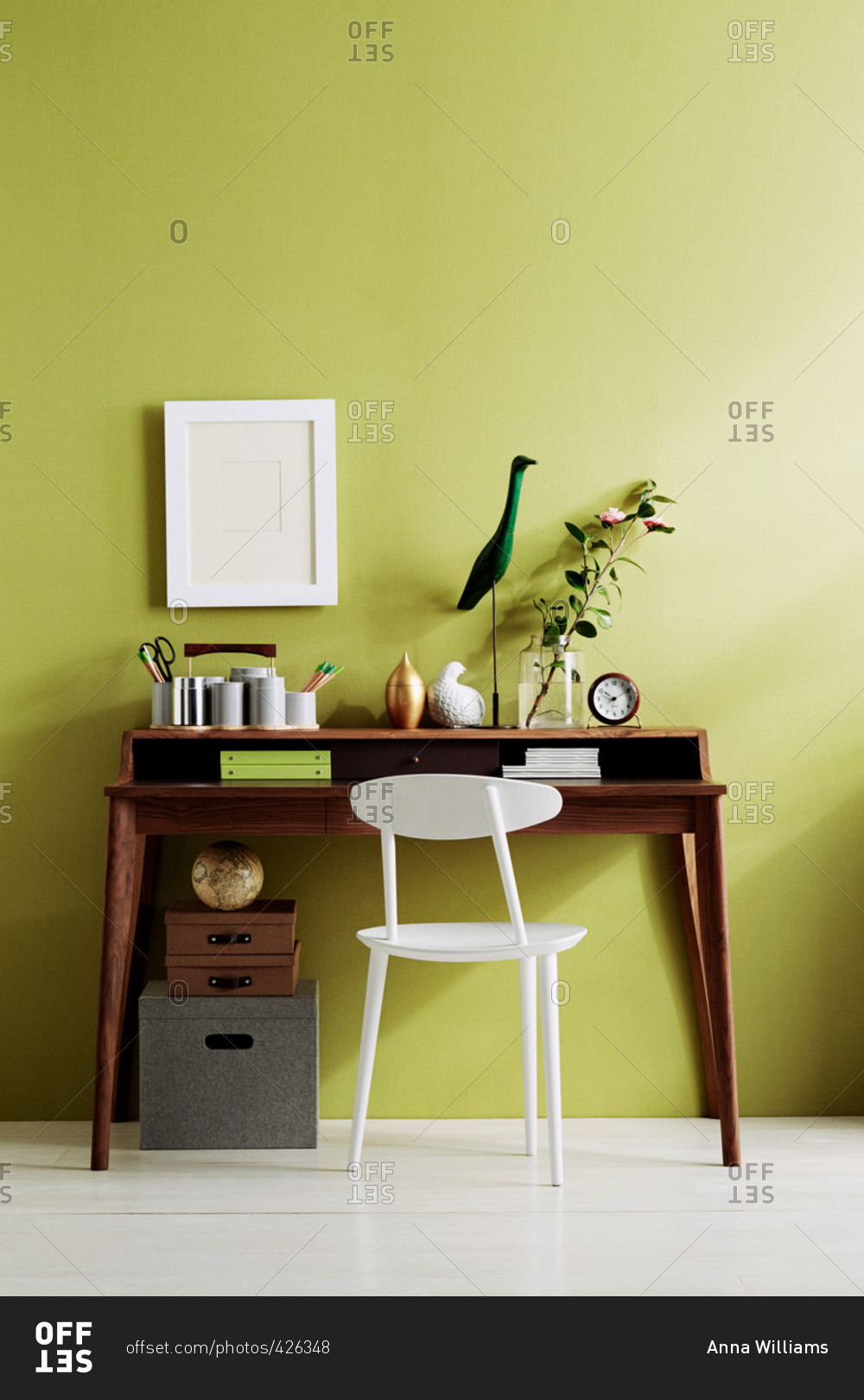 A Writing Desk Against Wall Stock Photo Offset