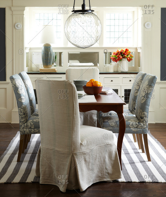 Upholstered dining chairs and table