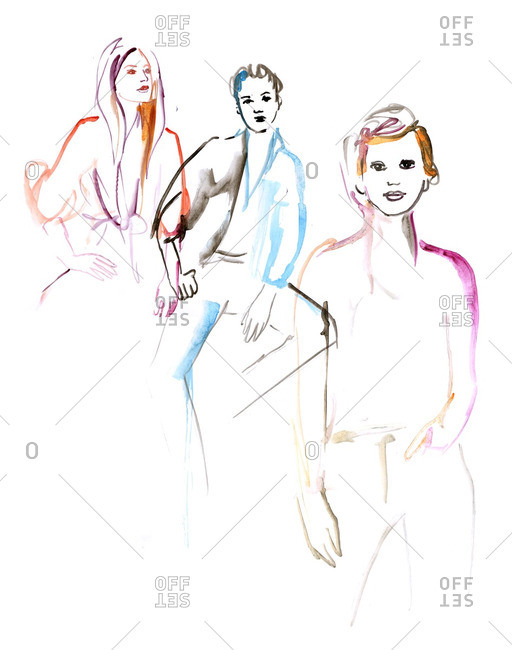 Illustration of three different women standing side-by-side