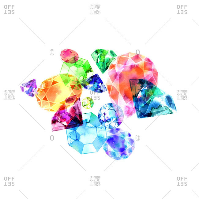 Illustration of a group of gemstones