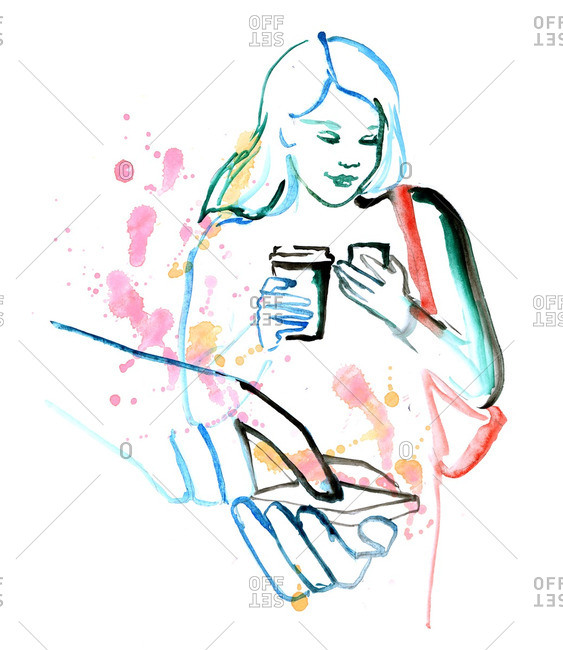 Illustration of a woman holding a coffee while using her smartphone