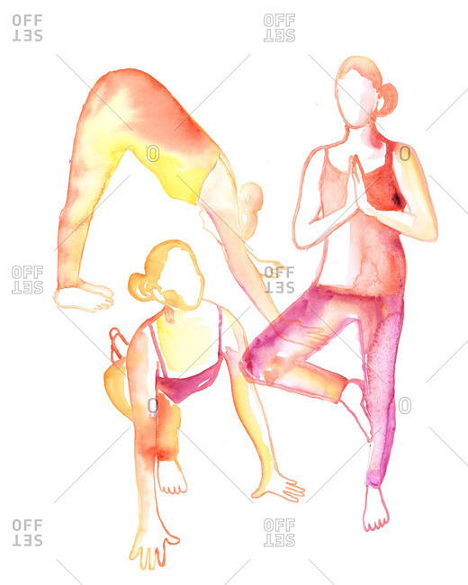 Illustration of women in various yoga poses