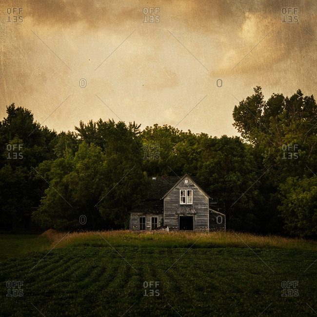 Old abandoned farmhouse in a field