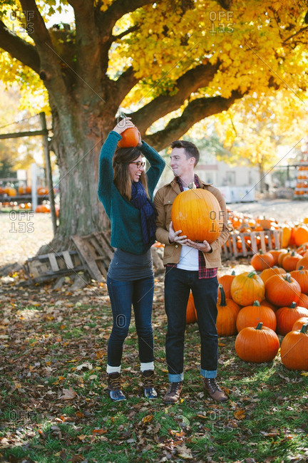 Couple at a pumpkin patch