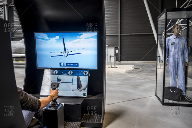 Blagnac, France - September 14, 2016: Flight simulator at Aeroscopia, home of a rich local aviation heritage in Blagnac