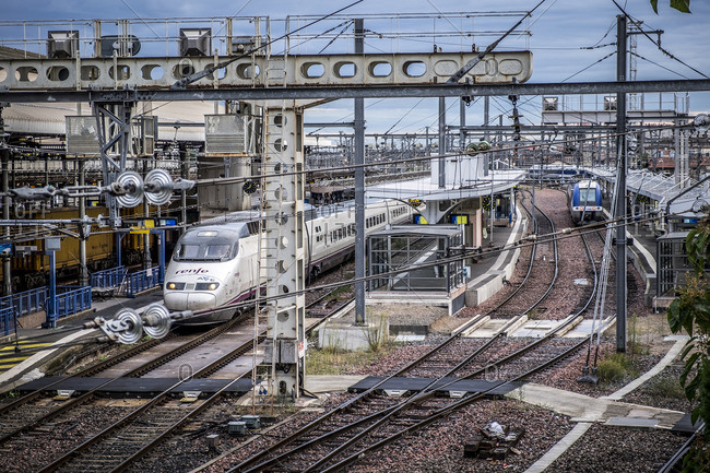 Toulouse, France - September 15, 2016: The AVE, high speed train in Mirabeau station in Toulouse